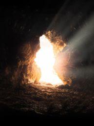 sun rays inside cave